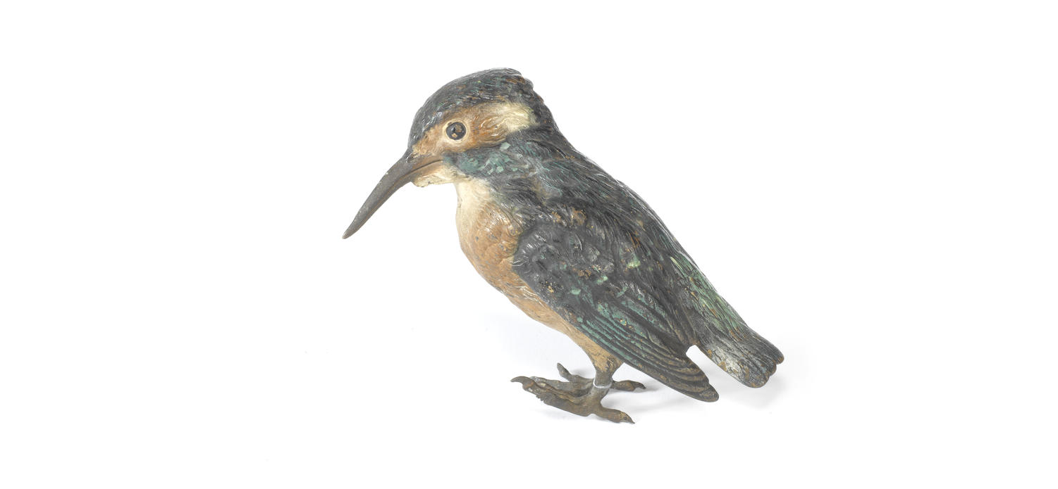 An Austrian late 19th century cold painted bronze model of a kingfisher