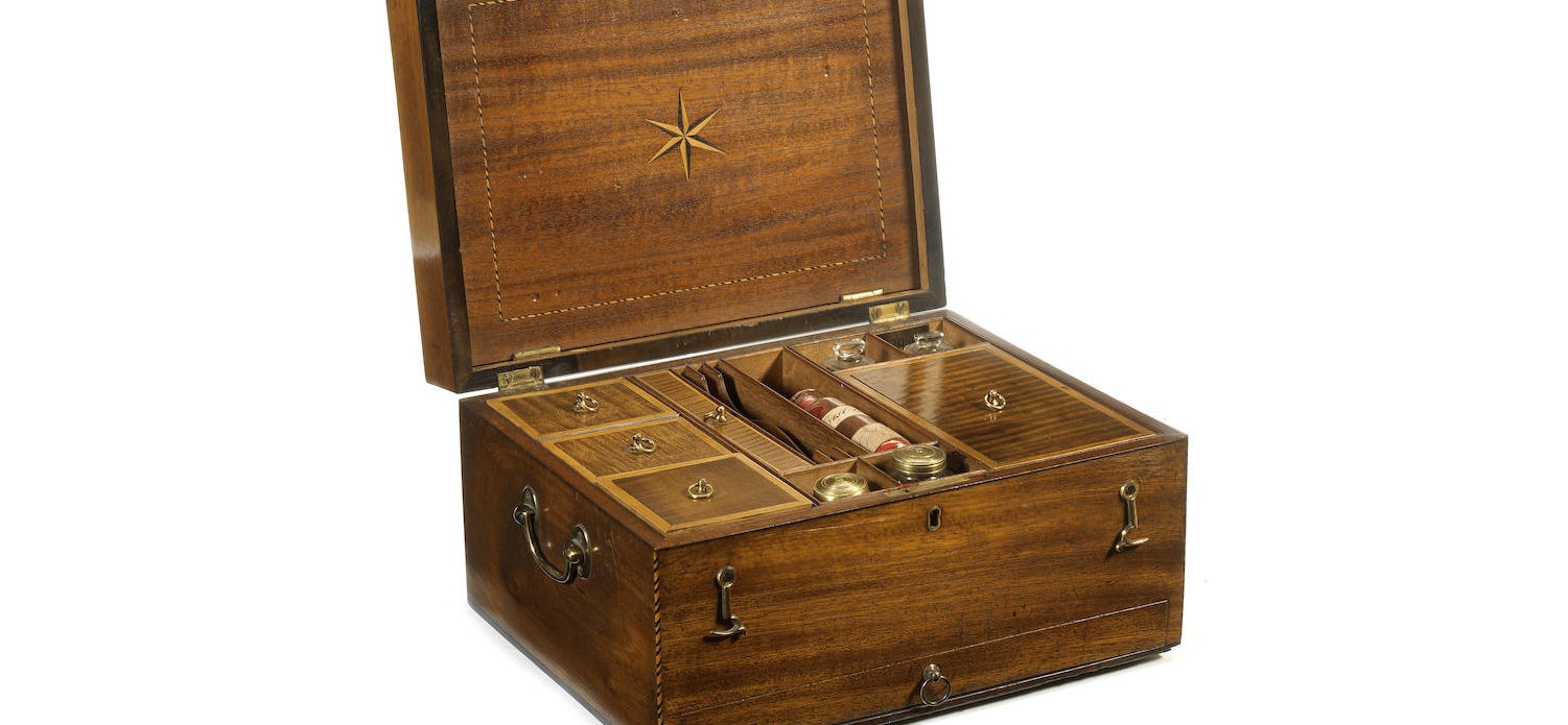 A George III mahogany and fan marquetry, boxwood and ebony strung artist's workbox