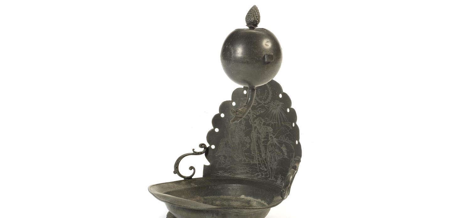 An 18th century pewter stoup