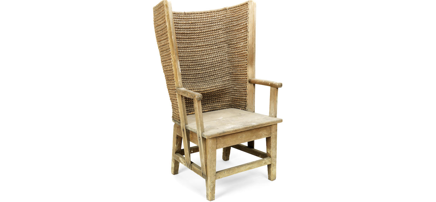 A late 19th/ early 20th century pine framed Orkney armchair