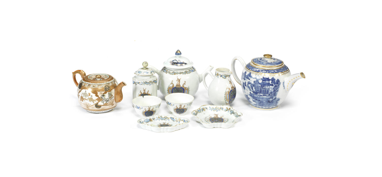 A rare Chinese Armorial enamelled part tea set