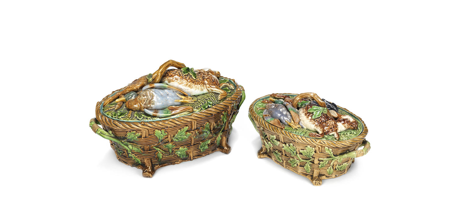 Two Minton majolica ware game dishes, covers and liners