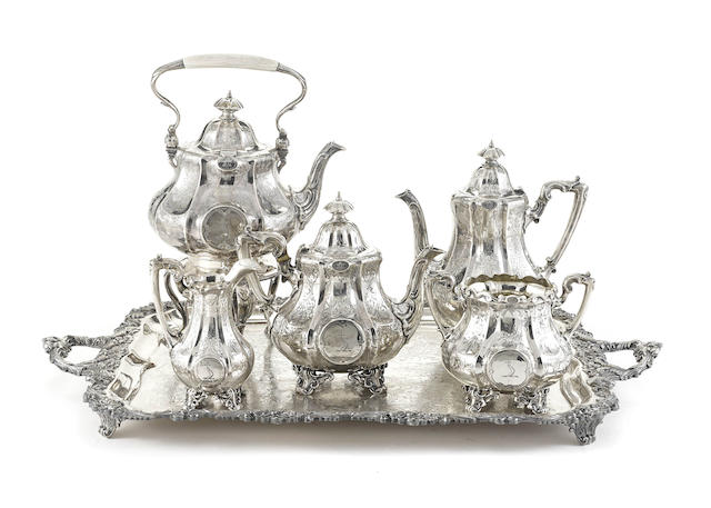 An assembled Victorian sterling silver five-piece tea and coffee service