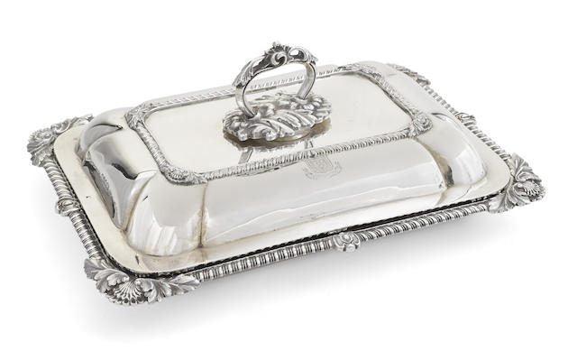 An early Victorian sterling silver covered entrée dish