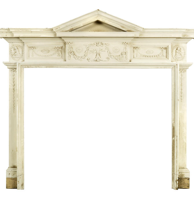 A 19th century painted wood fireplace