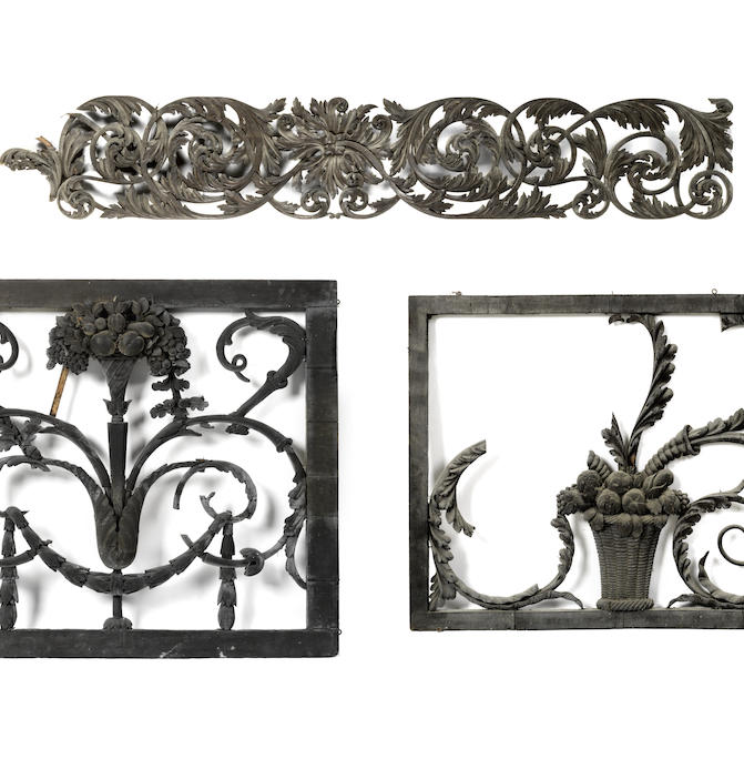 Three Victorian carved oak panels