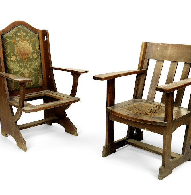 Two Arts and Crafts oak armchairs