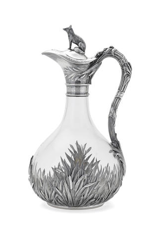 A Victorian sterling silver-mounted clear-glass claret jug