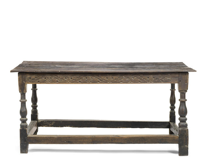 A small late 17th century and later oak refectory table