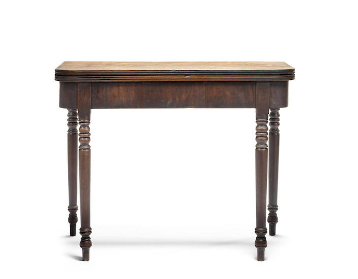 A George III mahogany D-shaped tea table