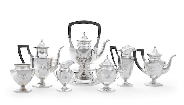 An American sterling silver six-piece tea and coffee service