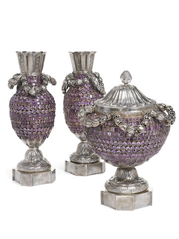 An amethyst-mounted sterling silver Neoclassic style three-piece table garniture