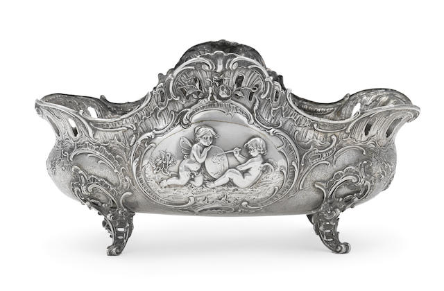 A German sterling silver 'Historismus' footed oval centerpiece