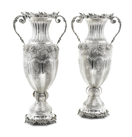 A pair of monumental Turkish 900 standard silver two-handled vases