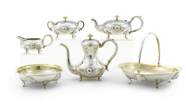 A Russian 84 standard silver six-piece tea and coffee service