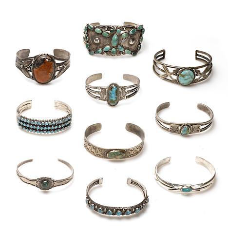 Ten Navajo or Zuni bracelets