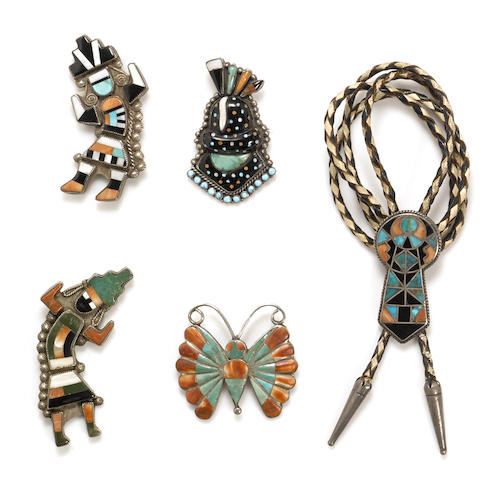 Five Zuni inlay jewelry items