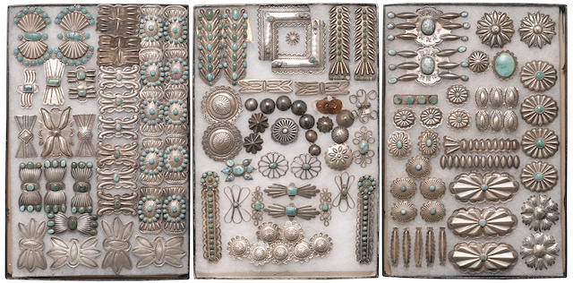 A collection of Navajo silver adornments