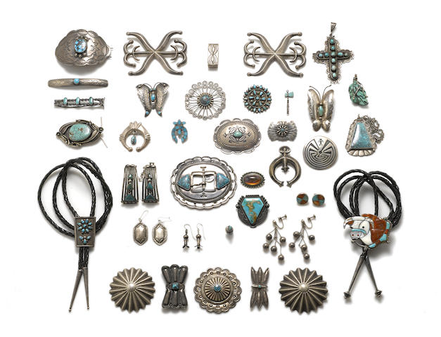 A collection of Southwest jewelry items