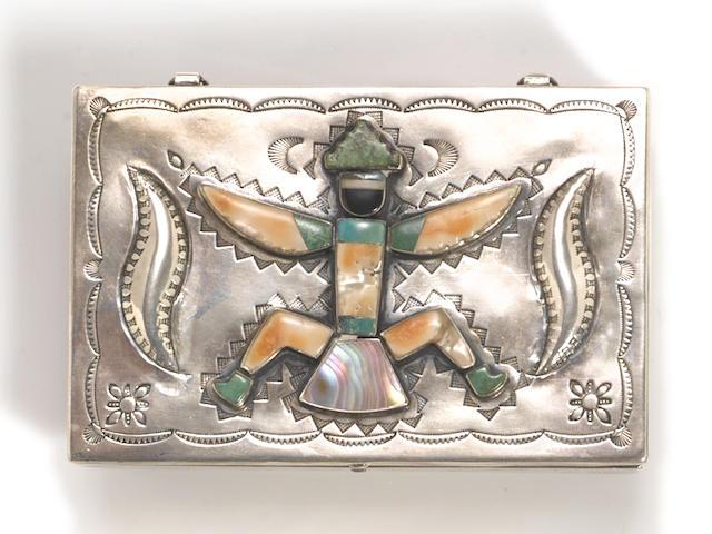 A Zuni/Navajo silver inlaid box