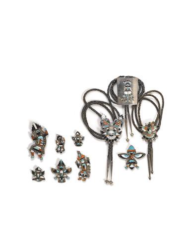 Ten Zuni inlay jewelry items