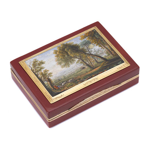 A fine Italian gold-mounted micromosaic and purpurine snuffbox