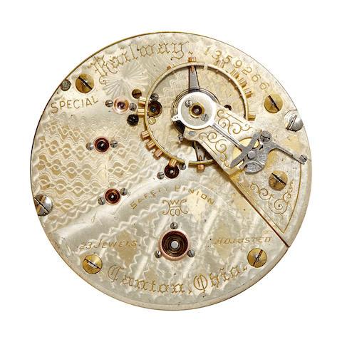 Hampden. A fine 14K gold open face watch with fancy dial