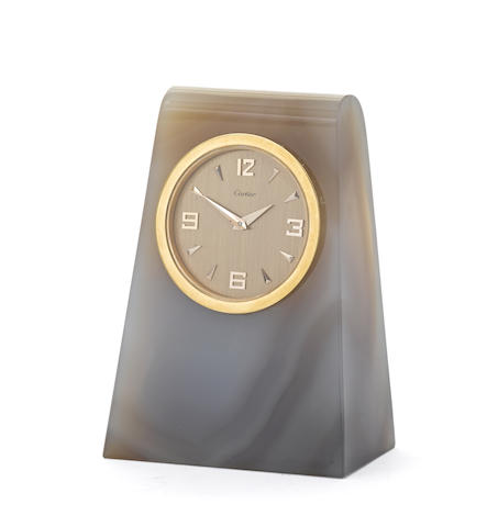 A French gilt-metal-mounted agate desk clock