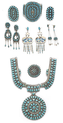 A group of Navajo or Zuni jewelry items