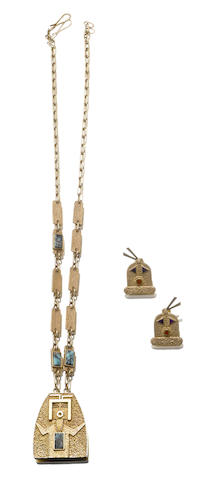 Two Navajo gold jewelry items