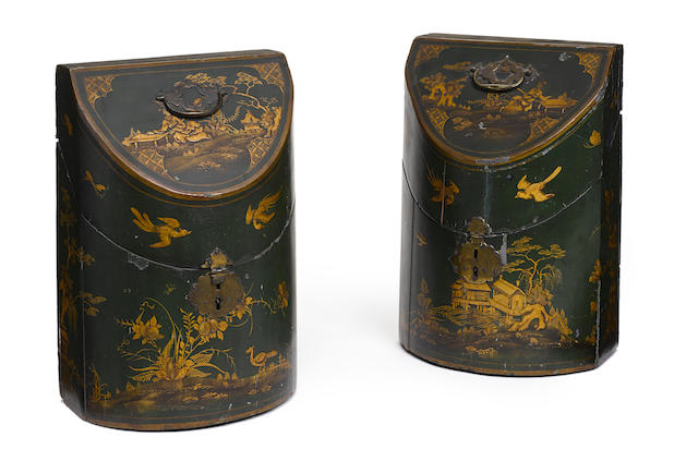 A pair of George III green Japanned knife boxes