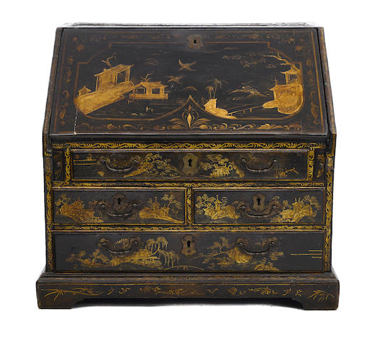 A diminutive Chinese export lacquer slant front desk