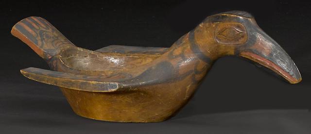 A Northwest Coast bird effigy bowl