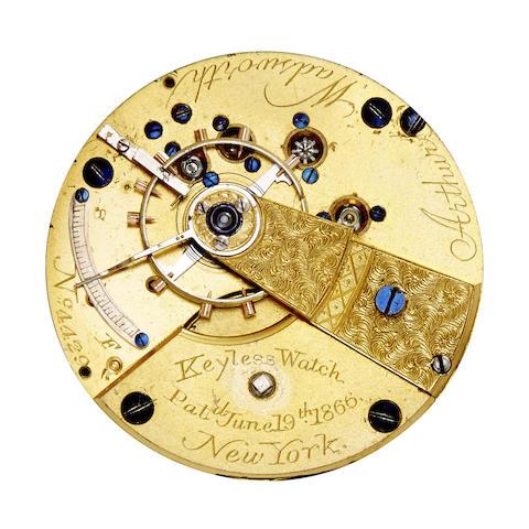 Newark Watch Co. A rare hunter cased patent keyless watch