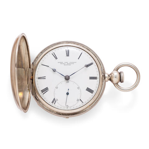 A possibly unique silver hunter cased eight day watch