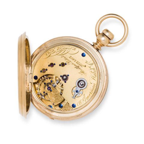 Waltham. A fine and rare 18K gold hunter cased watch with jeweled vibrating hairspring stud