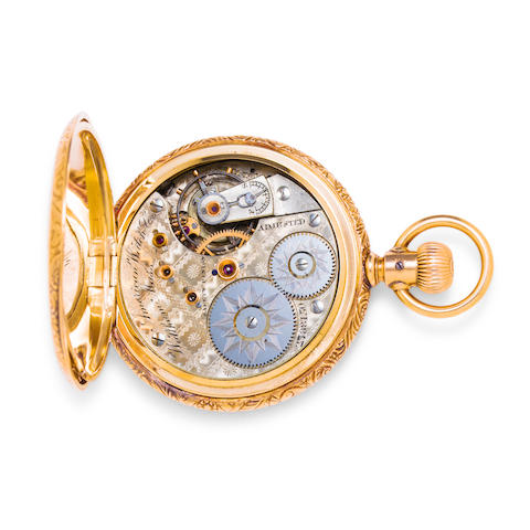 Waltham. A fine 14K gold open face watch with non-magnetic balance and spring