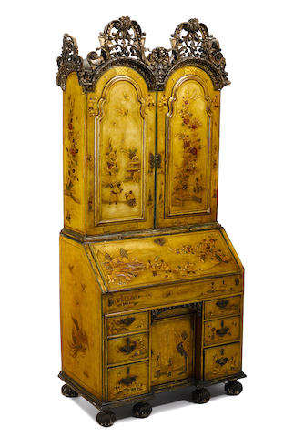 A Queen Anne and later Chinoiserie decorated bureau cabinet incorporating antique and later elements