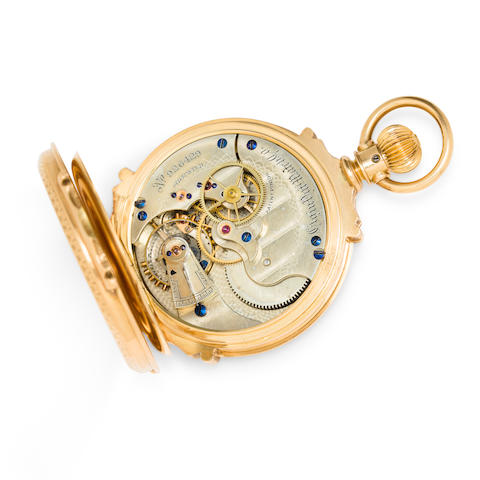 Elgin. A highly jeweled gold box hinge doctor's center seconds watch