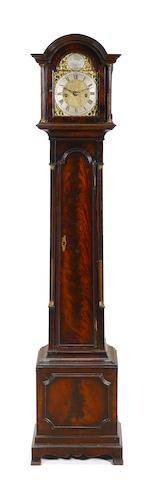 A diminutive English mahogany tallcase clock
