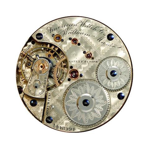 Waltham. A fine 14K engraved gold hunter cased watch