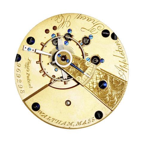 Waltham. A fine 18K gold hunter cased watch