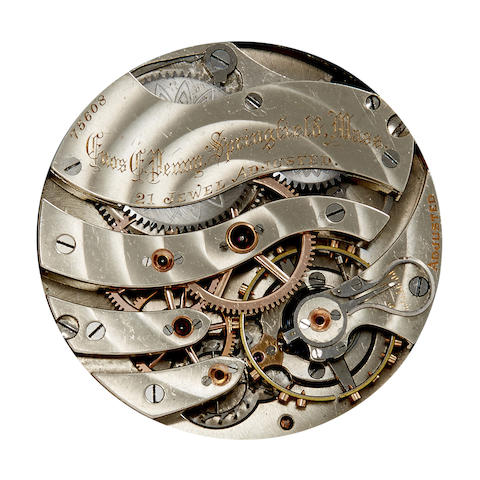 Hamilton. An apparently unique private label watch movement No. 75608, signed Enos E. Penny, Springfield, Mass.