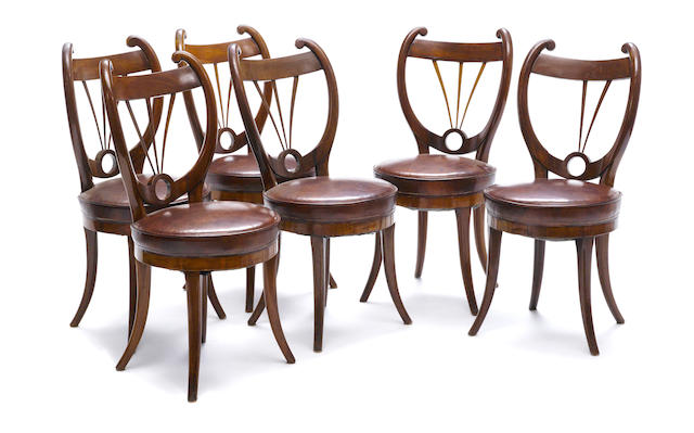 A set of six Continental Neoclassical mahogany dining chairs