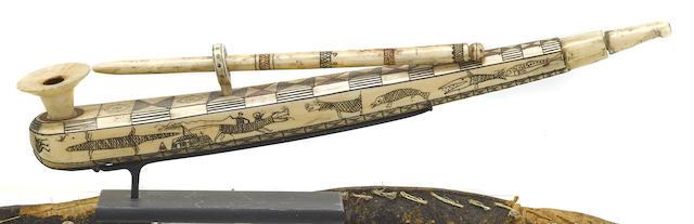 An Eskimo walrus ivory pipe
