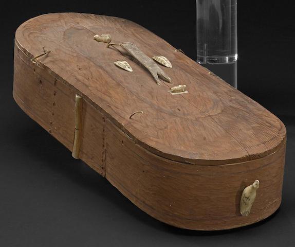 An Eskimo oval wood box