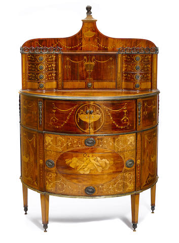 An exhibition quality George III style marquetry inlaid mahogany secretary cabinet