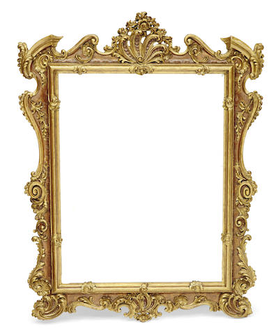 A Spanish Baroque style parcel gilt paint decorated mirror