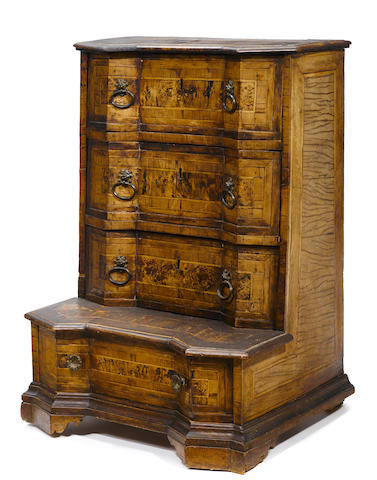 An Italian Baroque inlaid walnut chest incorporating antique and later elements