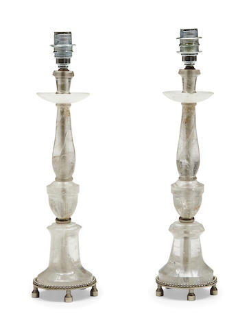 A pair of rock crystal table lamps